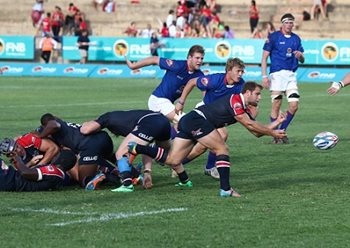 The Madibaz secured their FNB Varsity Cup semifinal slot with a nailbiting one-point loss to the Shimlas in Bloemfontein this week. They will face log leaders NWU-Pukke in Potchefstroom on Monday night. Photo: Wessel Oosthuizen/SASPA